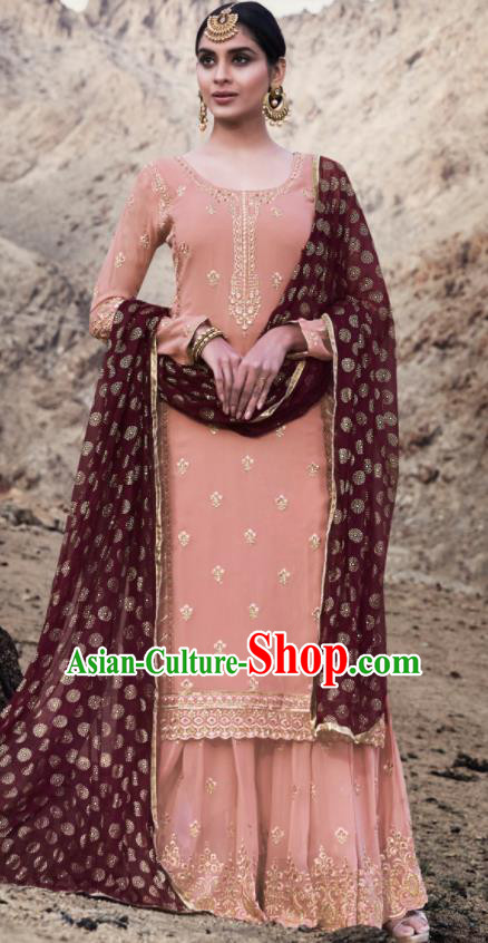 Asian Indian Punjabis Embroidered Pink Georgette Dress India Traditional Lehenga Choli Costumes Complete Set for Women