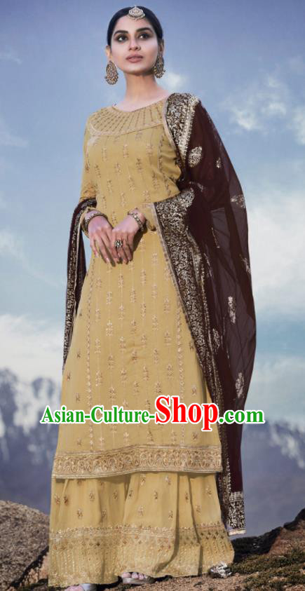 Asian Indian Punjabis Embroidered Yellow Georgette Dress India Traditional Lehenga Choli Costumes Complete Set for Women