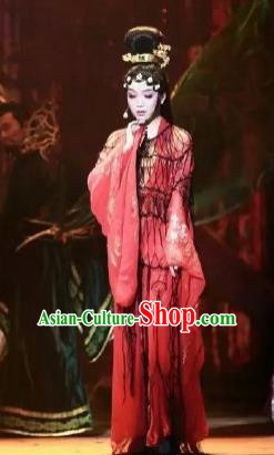 Chinese Zhaojun Chu Sai Ancient Court Classical Dance Red Dress Stage Performance Costume and Headpiece for Women