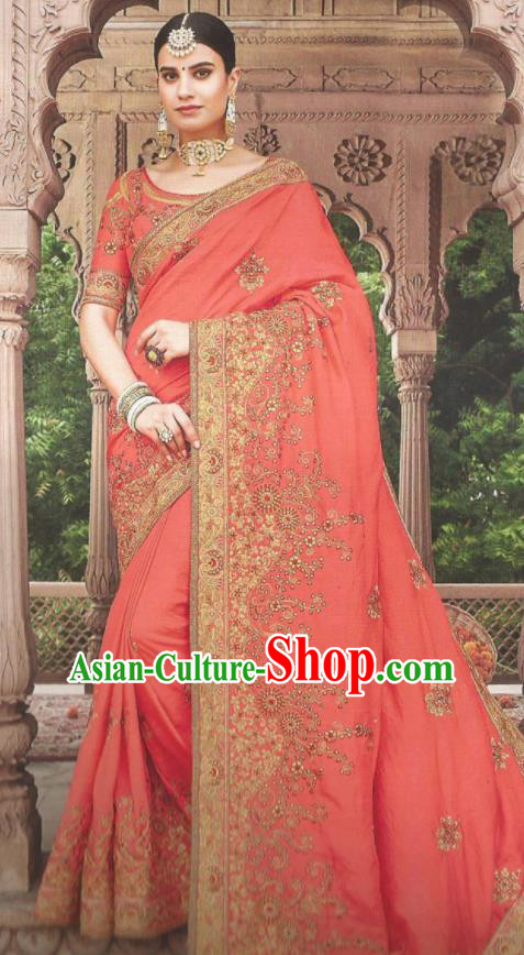 Asian Indian Court Watermelon Red Art Silk Embroidered Sari Dress India Traditional Bollywood Princess Costumes for Women