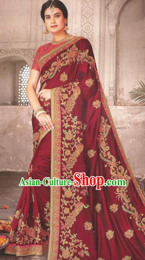 Asian Indian Court Wine Red Art Silk Embroidered Sari Dress India Traditional Bollywood Princess Costumes for Women