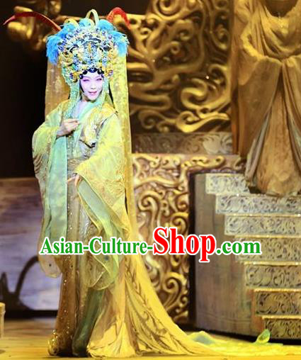 Chinese Zhaojun Chu Sai Ancient Han Dynasty Imperial Consort Classical Dance Yellow Dress Stage Performance Costume and Headpiece for Women