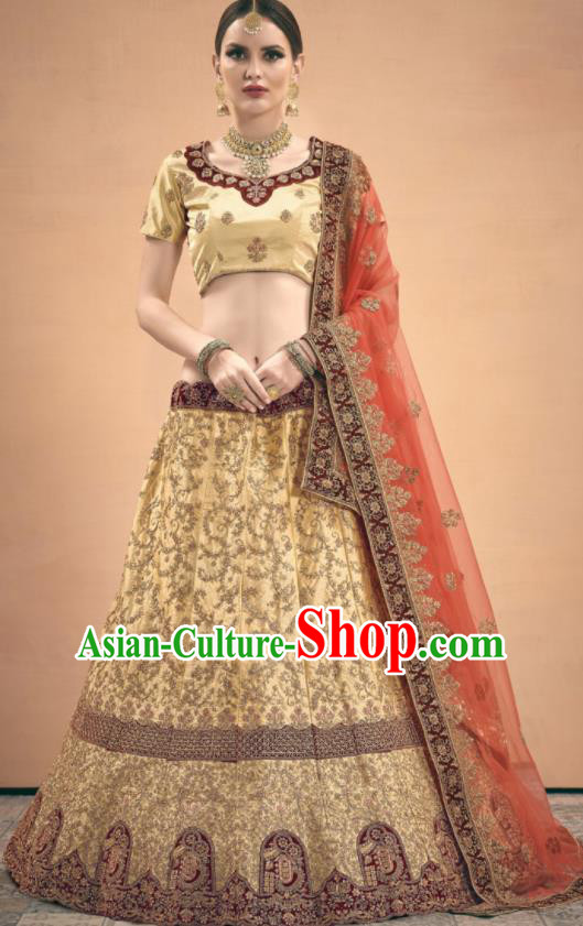 Asian Indian Bollywood Wedding Light Golden Silk Dress India Traditional Bride Lehenga Costumes for Women