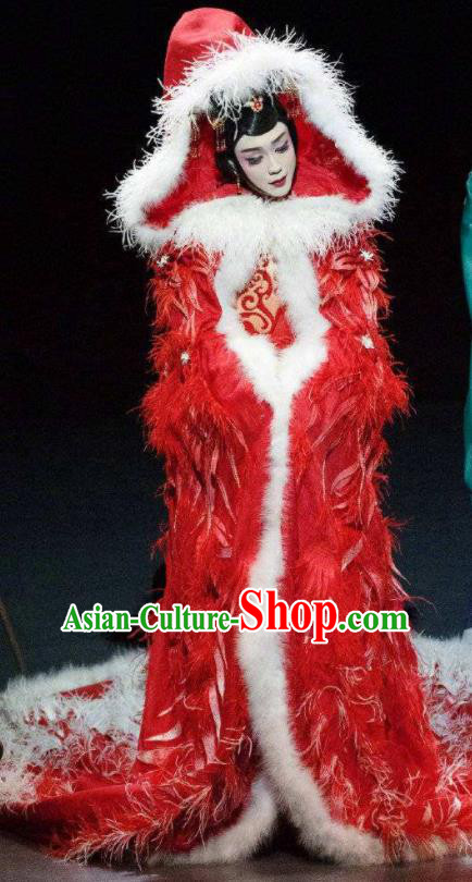 Chinese Zhaojun Chu Sai Ancient Queen Dance Red Feather Dress Stage Performance Costume and Headpiece for Women