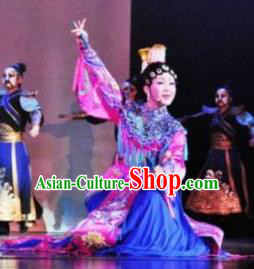 Chinese Zhaojun Chu Sai Ancient Court Princess Blue Dress Stage Performance Dance Costume and Headpiece for Women