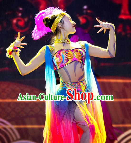 Chinese Phenix Dance In The Sky Classical Dance Colorful Dress Stage Performance Costume and Headpiece for Women