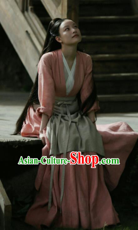 Chinese Ancient Female Civilian Drama Love and Destiny Lin Mo Ni Ni Pink Replica Costumes for Women