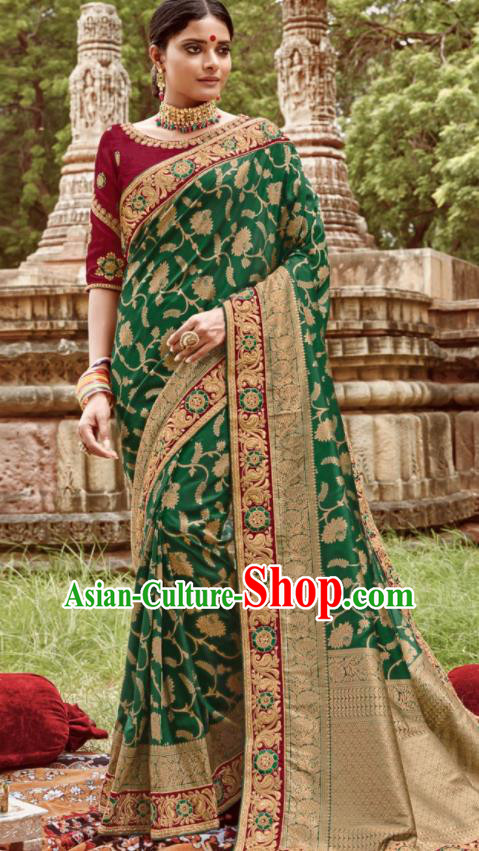 Asian Indian Bollywood Bride Embroidered Green Sari Dress India Traditional Court Wedding Costumes for Women