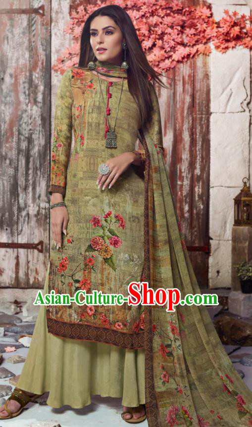Asian Indian Traditional Printing Olive Green Crepe Blouse and Pants India Punjabis Lehenga Choli Costumes Complete Set for Women