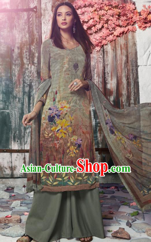 Asian Indian Traditional Printing Green Crepe Blouse and Pants India Punjabis Lehenga Choli Costumes Complete Set for Women