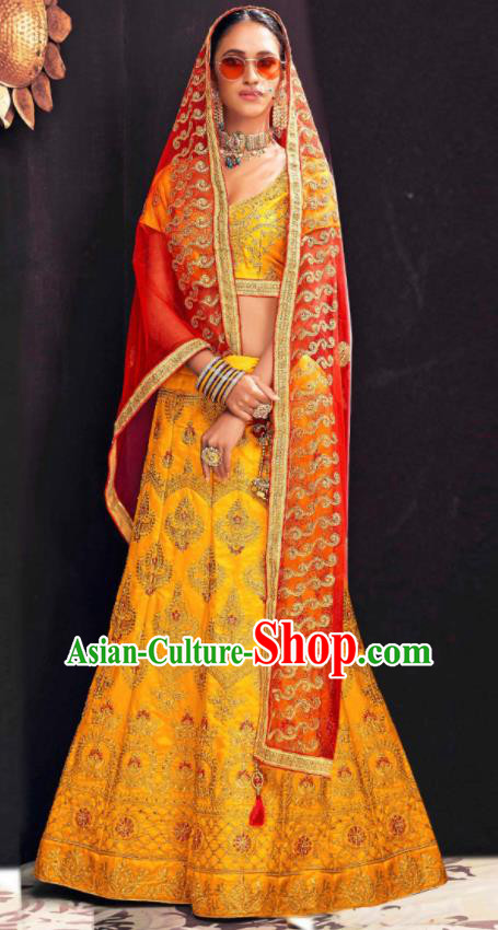 Asian Indian National Wedding Lehenga Golden Embroidered Dress India Bollywood Traditional Costumes for Women