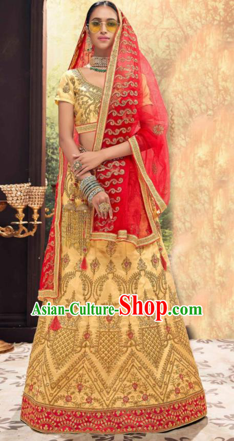 Asian Indian National Wedding Lehenga Light Golden Embroidered Dress India Bollywood Traditional Costumes for Women