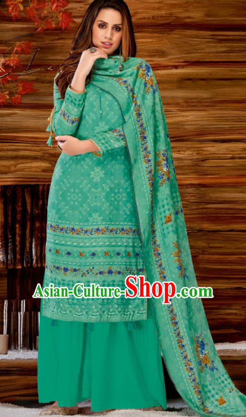 Asian Indian Bollywood Traditional Green Pashmina Blouse and Pants India Punjabis Lehenga Choli Costumes Complete Set for Women