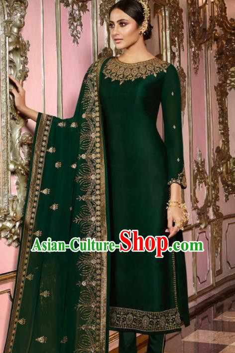 Asian Indian Punjabis Embroidered Deep Green Satin Blouse and Pants India Traditional Lehenga Choli Costumes Complete Set for Women