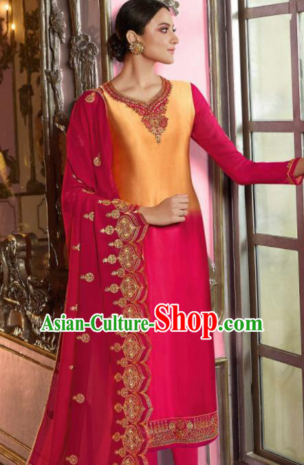 Asian Indian Punjabis Embroidered Rosy Satin Blouse and Pants India Traditional Lehenga Choli Costumes Complete Set for Women