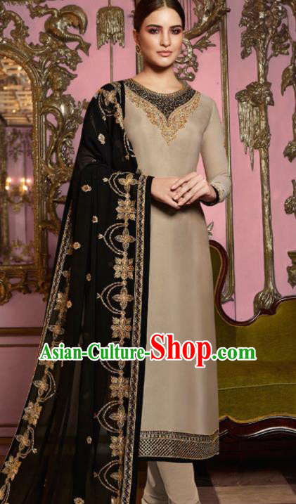Asian Indian Punjabis Embroidered Khaki Satin Blouse and Pants India Traditional Lehenga Choli Costumes Complete Set for Women