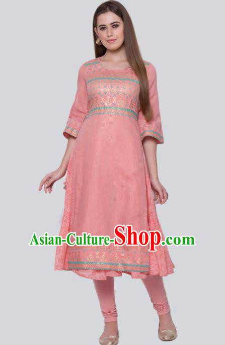 Asian Indian Traditional Peach Pink Blouse and Pants India Lehenga Choli Costumes Complete Set for Women