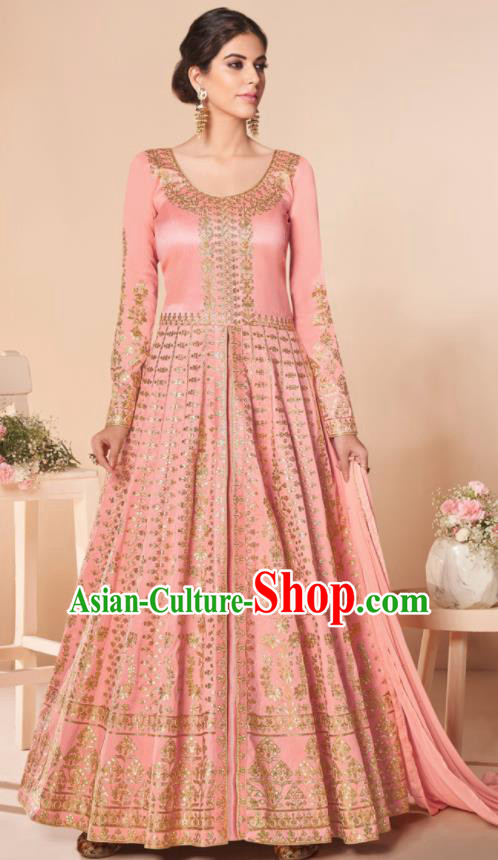 Asian Indian Lehenga Embroidered Pink Silk Blened Dress India Traditional Bollywood Court Costumes for Women