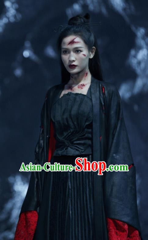 Chinese Ancient Heaven General Black Dress Drama Love and Destiny Female Swordsman Yuan Tong Replica Costumes for Women