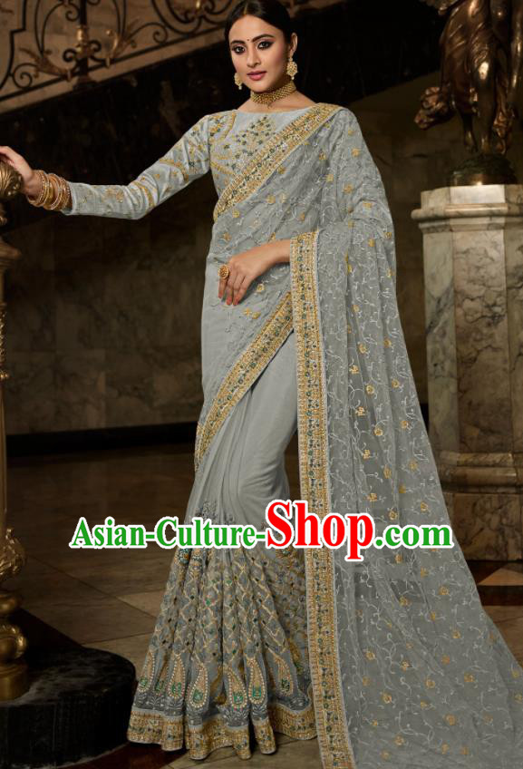 Asian Traditional Indian Court Embroidered Light Grey Silk Sari Dress India National Festival Bollywood Costumes for Women