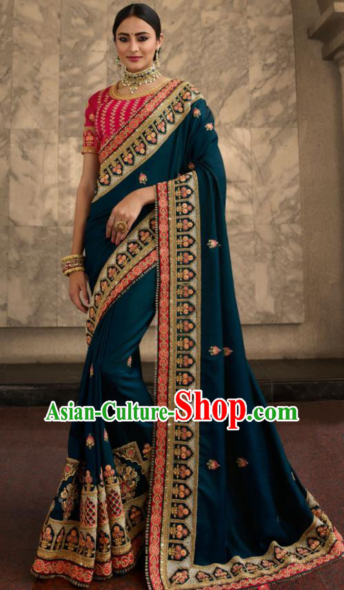 Asian Traditional Indian Court Embroidered Peacock Blue Silk Sari Dress India National Festival Bollywood Costumes for Women