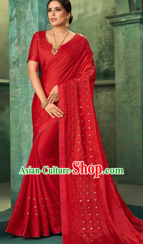 Indian Traditional Wedding Embroidered Red Sari Dress Asian India National Festival Costumes for Women