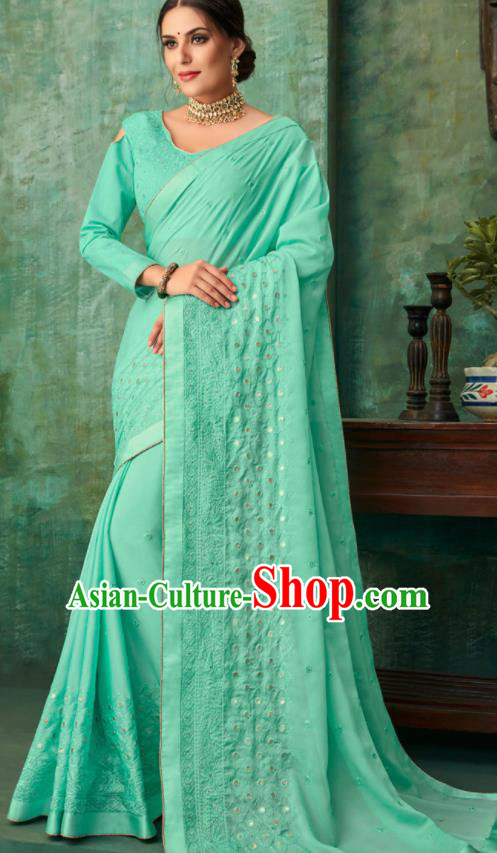 Indian Traditional Wedding Embroidered Green Sari Dress Asian India National Festival Costumes for Women