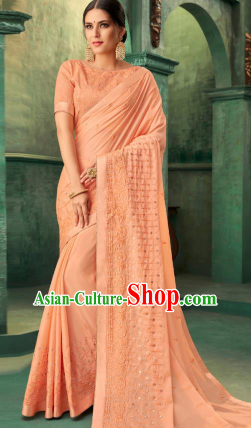 Indian Traditional Wedding Embroidered Orange Sari Dress Asian India National Festival Costumes for Women