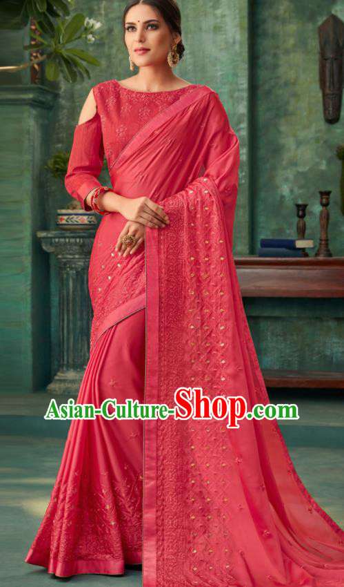 Indian Traditional Wedding Embroidered Rosy Sari Dress Asian India National Festival Costumes for Women