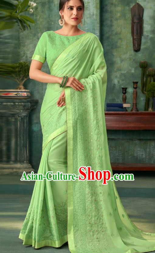 Indian Traditional Wedding Embroidered Light Green Sari Dress Asian India National Festival Costumes for Women