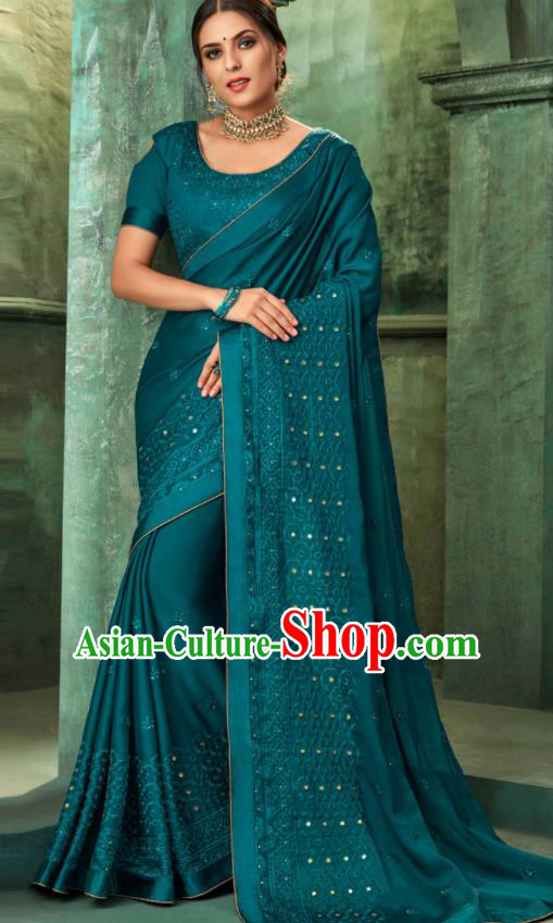 Indian Traditional Wedding Embroidered Deep Blue Sari Dress Asian India National Festival Costumes for Women