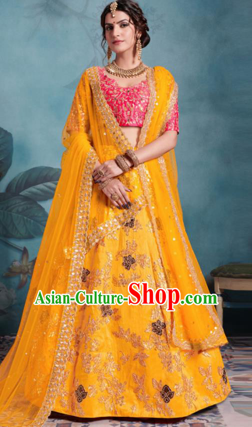 Indian Traditional Court Lehenga Bollywood Embroidered Yellow Dress Asian India National Festival Costumes for Women