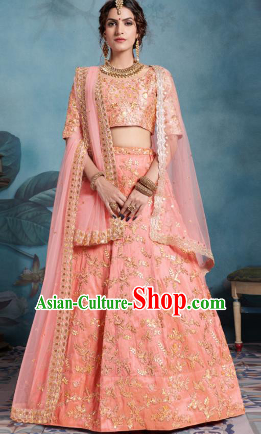Indian Traditional Court Lehenga Bollywood Embroidered Pink Dress Asian India National Festival Costumes for Women