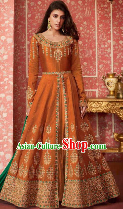 Indian Traditional Court Bollywood Embroidered Orange Silk Anarkaili Dress Asian India National Festival Costumes for Women