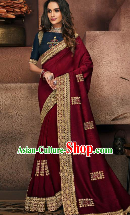 Indian Traditional Court Bollywood Wine Red Satin Sari Dress Asian India National Festival Costumes for Women