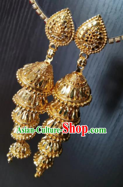 Indian Traditional Belly Dance Golden Ear Accessories Asian India National Earrings for Women