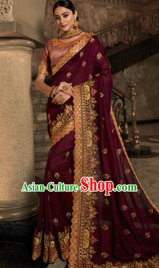 Asian Traditional Indian Court Embroidered Wine Red Silk Sari Dress India National Festival Bollywood Costumes for Women
