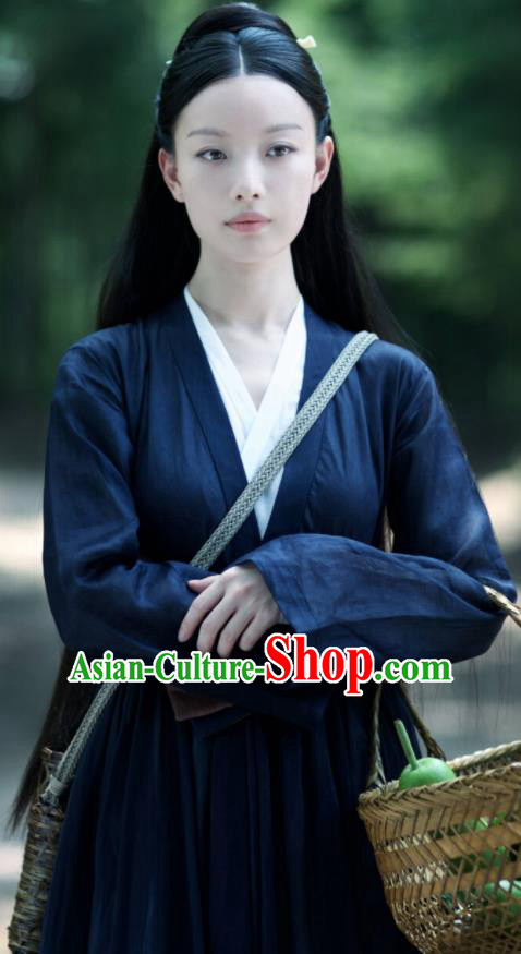 Chinese Drama Ancient Female Civilian Navy Dress Love and Destiny Lin Mo Ni Ni Replica Costumes for Women