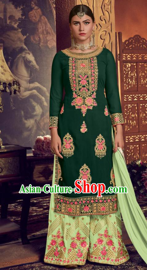Asian Indian Punjabis Embroidered Green Georgette Blouse and Pants India Traditional Lehenga Choli Costumes Complete Set for Women