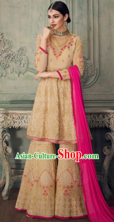 Asian Indian Punjabis Apricot Blouse and Pants India Traditional Lehenga Choli Costumes Complete Set for Women