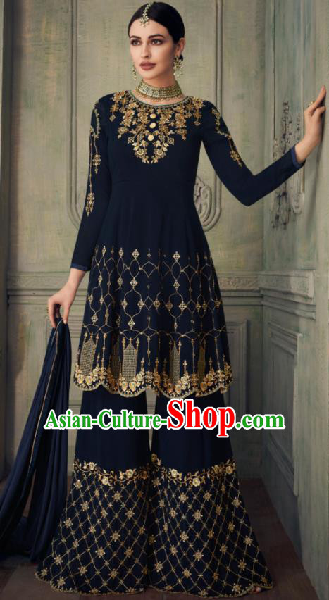 Asian Indian Punjabis Navy Blouse and Pants India Traditional Lehenga Choli Costumes Complete Set for Women