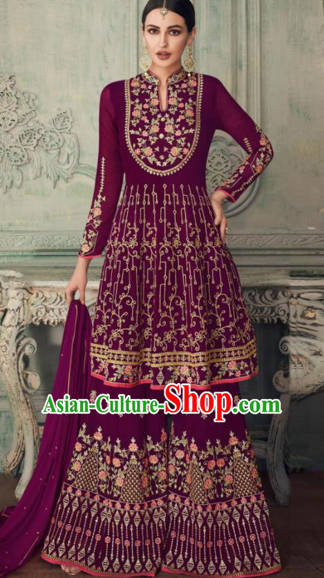 Asian Indian Punjabis Purple Blouse and Pants India Traditional Lehenga Choli Costumes Complete Set for Women