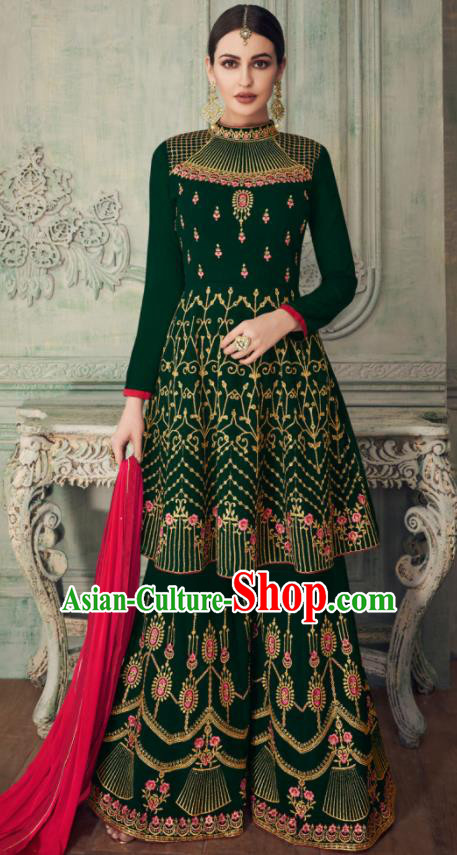 Asian Indian Punjabis Deep Green Blouse and Pants India Traditional Lehenga Choli Costumes Complete Set for Women