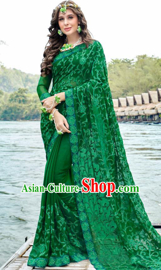 Indian Traditional Bollywood Court Embroidered Deep Green Georgette Sari Dress Asian India National Festival Costumes for Women