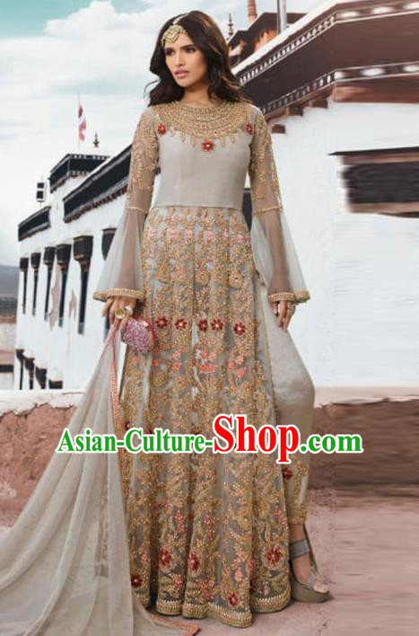 Asian Indian Embroidered Grey Blouse and Pants India Traditional Lehenga Choli Costumes Complete Set for Women