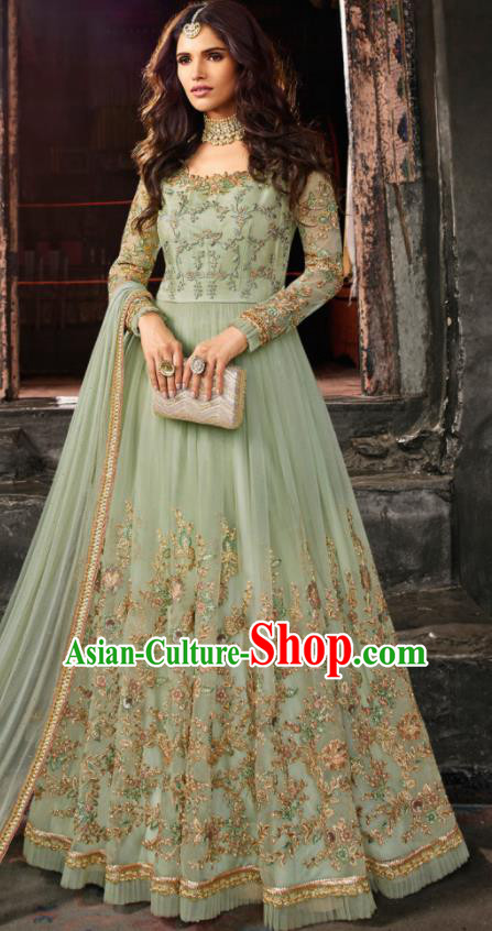 Asian Indian Embroidered Green Blouse and Pants India Traditional Lehenga Choli Costumes Complete Set for Women
