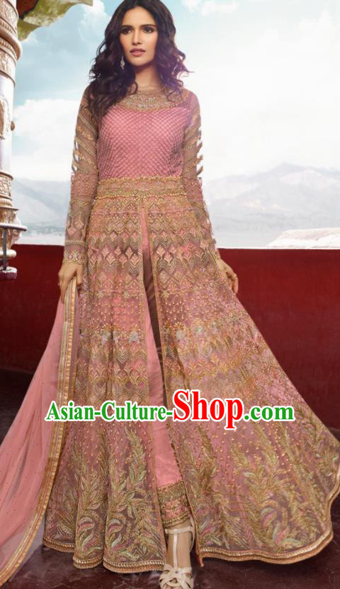 Asian Indian Embroidered Pink Blouse and Pants India Traditional Lehenga Choli Costumes Complete Set for Women