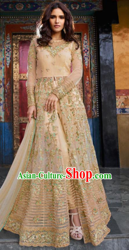 Asian Indian Embroidered Apricot Blouse and Pants India Traditional Lehenga Choli Costumes Complete Set for Women