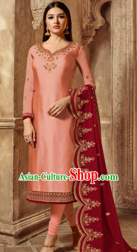 Asian Indian Traditional Embroidered Pink Satin Blouse and Pants India Punjabis Lehenga Choli Costumes Complete Set for Women