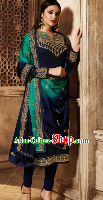 Asian Indian Traditional Embroidered Navy Satin Blouse and Pants India Punjabis Lehenga Choli Costumes Complete Set for Women